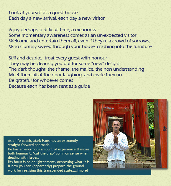 Namaste, welcome poem from Mark-Hans.